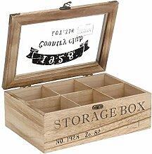 ToCi Teebox Holz Natur mit 6 Fächern |