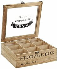 ToCi Teebox Holz Natur mit 9 Fächern |
