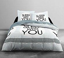 Today HC3Baumwolle 57Fäden Enjoy Home Sleep Home Bettwäsche 2Personen Enjoy Zeichnung Sleep With You Bettbezug 220x 240cm + 2Kissenbezüge 63x 63cm Baumwolle weiß/grau/schwarz