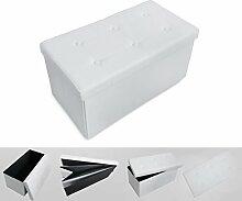 Todeco - Klappbank, Klapplager Ottomane - Maximalbelastung: 150 kg - Material: Lederimitat - Abgenähtes und gesticktes Finish, 76 x 38 x 38 cm, Weiß