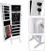 Todeco - Schmuckschrank mit Spiegel , Spiegel Organizer - Material: MDF - 120 x 38 x 9 cm, Weiß, Ständer