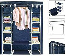 Todeco - Stoffschrank, Stoff-Garderobe - Material: Edelstahlrohre - Abschlusstyp: Klettteile und Reißverschluss - 3 Türen, 172 x 134 x 43 cm, Blau