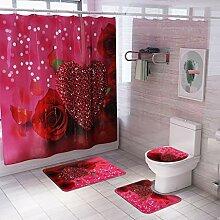 ToDIDAF Flanell Duschvorhang + 3 Stück WC Matten,