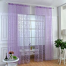 ToDIDAF Transparente Gardinen Vorhang, Beflockung