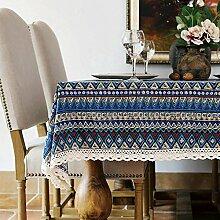 Toechmo Leinen-Tischdecke, rechteckig, waschbar, Tischtuch für ein festliches Essen oder Picknick, Retro-Stil, verschiedene Größen, baumwolle, Böhmisch, 36 X 55 Inch (90*140CM)