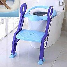 Töpfchen Kinder-WC-Toilettenschüssel, Baby-Toilettenleiter, Kinder-WC-Abdeckungs-Auflage, Säuglings-Toilette (Toiletten-Leiter-Sitzring) Kinder Frosch Urinal ( Farbe : Blau , stil : Soft cushion )