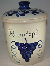 Töpferei Seifert Rumtopf 5 Liter grau blau