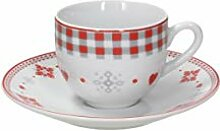 Tognana Espressotassen Vichy Red, Porzellan, Rot,
