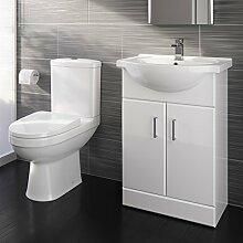 Toilette und Waschbecken mit Unterschrank, sanft schließende Türen, kompaktes Design, Keramik, für Badezimmer