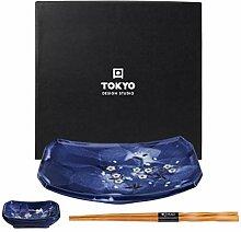 TOKYO design studio Blue Sakura Sushi-Set blau mit