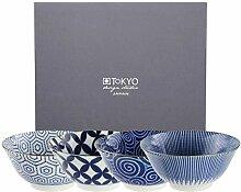 Tokyo Design Studio, Floral Blue, 4 Schalen Set ,
