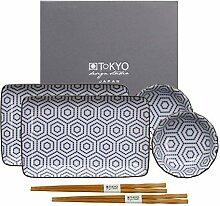 TOKYO design studio Kotobuki Sushi-Set blau-weiß,