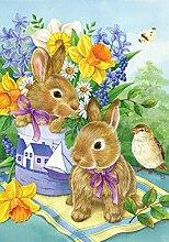 Toland Home Garden Bunny Bouquet Deko Garten Flagge