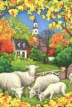 Toland Home Garden Herbst Flock Garten Flagge, Textil, Green/White/Red/Orange/Yellow, Größe S