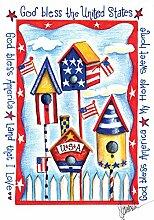 Toland Home Garden USA Vogelhaus Deko Garten Flagge