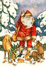 Toland Home Garten-Fahne mit Weihnachtsmannmotiv,