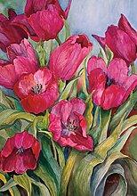 Toland Home Garten-Flagge Tulpen Rot 28x101,6 cm