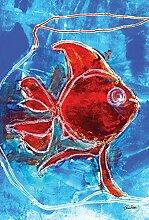 Toland Home Garten-Wasserfarbe, Rot, Goldfisch,