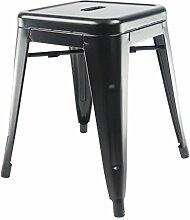 Tolix industrieller Hocker - Schwarz, Sitzfläche Metall, 45 cm