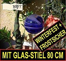 Tolle 80 cm Gartenkugel mit GLAS Stiel blau violett GKM MASSIV GLAS Gartenkugeln Rosenkugeln
