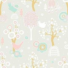 Tolle Design-Tapete - Frühlingserwachen - mit verspieltem Vogel-Dekor - Vliestapete 10,05 x 0,53 m (Länge x Breite) - Eurorolle - Gerader Ansatz - glatte Oberfläche - Stilrichtung: Kinder und Tiere - ideal für das Kinderzimmer - mit vielen liebevollen Details zum Entdecken - Farbe: Hellgrau, Rosa, Weiß