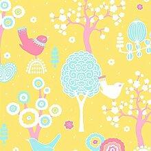 Tolle Design-Tapete - Frühlingserwachen - mit verspieltem Vogel-Dekor - Vliestapete 10,05 x 0,53 m (Länge x Breite) - Eurorolle - Gerader Ansatz - glatte Oberfläche - Stilrichtung: Kinder und Tiere - ideal für das Kinderzimmer - mit vielen liebevollen Details zum Entdecken - Farbe: Gelb, Rosa, Blau