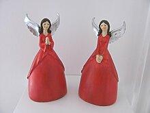 Tolle Geschenkidee 2 Engel Deko Engel Figur Weihnachtsengel rot, silber, 22 cm - Weihnachten Geschenk Geburtstag