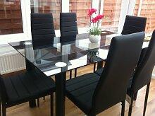 Toller Esszimmertisch, weiß oder schwarz, mit 6