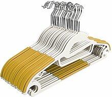 Tomasa 20 x Kleiderbügel, 0,6 cm dick,rutschfeste Anzugbügel Jackenbügel Wäschebügel Garderobenbügel nass trocken robuste Kleiderbügel Set (Gelb)