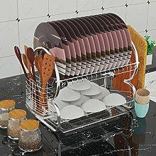 Tomasa Dish Rack 2 Schichte Edelstahl Küchen Geschirrablage Abtropfständer Abtropfgestell Abtropfgitter Abtropfbrett (Typ 1)