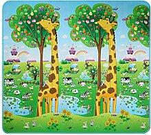 Tomasa XXL 200x180cm Baby Kinder Spielmatte Babymatte Spielteppich Kinderzimmer Puzzle Wasserdicht Hof Zoo Meer Garten Buchstaben Zweiseitig neu (Dinosaurier + Auto)