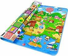 Tomasa XXL 200x180cm Baby Kinder Spielmatte Babymatte Spielteppich Kinderzimmer Puzzle Wasserdicht Hof Zoo Meer Garten Buchstaben Zweiseitig neu (Alphabet + Bauernhof)