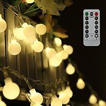 Tomshine 10m 80 Leds Globe Lichterkette, Warmweiße Kugel Lichterkette mit IR Fernbedienung, Batteriebetriebene/IP44 Wasserdicht für Party,Weihnanchten,Geburtstag,Hochzeit,Garten,Wohnzimmer,Terrasse