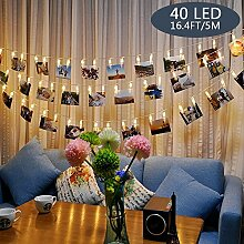 Tomshine 40 Leds Foto Clips Lichterkette, Warmweiß Lichterkette, 5m/40 Foto-Clips, Batteriebetrieben Stimmungsbeleuchtung, Dekoration für Wohnzimmer, Ba