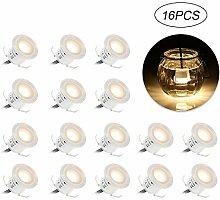 Tomshine LED Einbaustrahler,Einbauleuchten,16 Stück LED Deckenspots,Badestrahler,Deckenstrahler 32mm/IP67 Wasserdicht/Super Hell für Küche,Treppen,Balkon,Badezimmer,Arbeitszimmer,Garten(3000K Warmweiß)
