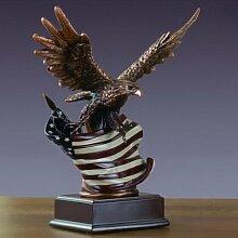Ton Bronze galvanisch Skulptur Adler mit American