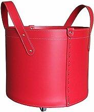 TONDA: Kaminholzkorb aus Leder Farbe Rot, Holzkorb, Feuerholzkorb, Brennholzkorb, Exlusivdesign aus Italien.