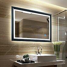 Tonffi® Badspiegel Wandspiegel Spiegel mit LED 100x60CM LED Spiegelleuchte 6000K Weiß 20W 2100LM Touch-Schalter IP44 Edelstahl