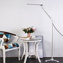 Tonffi Stehlampe dreibein LED dimmbar 8W 800LM Augenschutz Aluminium Standleucht Touch-Schalter blendfrei 5 Helligkeitsstufen silber tageslicht modern Wohnzimmerlampe