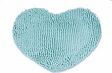Tonsee Saugfähige Antirutschmatten Badezimmer Badematte Set Mat herzförmig Runde Kissen Tür Matten Boden Teppich für Wohnzimmer Tapetes (blau)