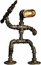 Tony's home Industrial Retro Style Rost Eisen Roboter Sanitär Rohr Tisch Tisch Lampe Licht mit roten Ventil Griff und Schalter LED E27 Licht für Wohnzimmer Tischleuchte ( Farbe : E )