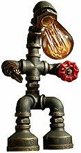Tony's home Industrial Retro Style Rost Eisen Roboter Sanitär Rohr Tisch Tisch Lampe Licht mit roten Ventil Griff und Schalter LED E27 Licht für Wohnzimmer Tischleuchte ( Farbe : D )