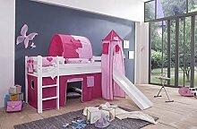 Tony Hochbett Kinderbett Spielbett mit Rutsche Weiss Princess 8 tlg ink Turm + Vorhag + Matratze + Tunnel + Latterollros
