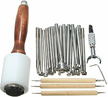 TOOGOO 25 stuecke Leder Carving kits Holzhammer