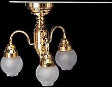 TOOGOO(R) 1:12 Puppenhaus Messing Kronleuchter 3 Arm Lampe LED Deckenleuchte Glasschirm