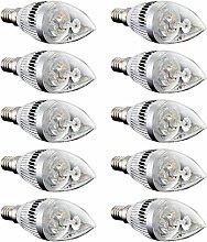 TOOGOO(R) 10x E14 3 LED Kerze Birne Energiesparlampe Lampe Strahler 6W Warmweiss 3000K