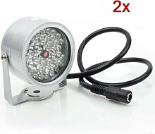 TOOGOO(R) 2 Stueck 48 LED Illuminator Licht CCTV-IR Infrarot-Nachtsicht-Lampe fuer ueberwachungskamera