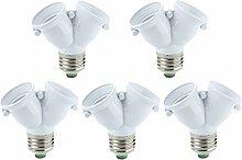 TOOGOO (R) 5 x Doppellampen Adapter LED-Lampe E27