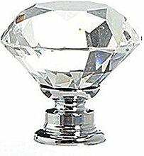 TOOGOO(R) 8 in 1 Diamant Kristall Moebel knoepfe Moebel griffe Glas Moebel knauf Tuer Schrank Griffe transparen