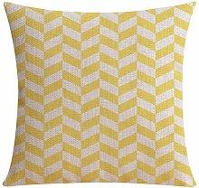 Toogoo(R) Schlussverkauf Großhandel Leinen Kissenbezug gelb grau Kissenbezug geometrisch Stil Heim dekorativer Kissenbezug 45x 45 cm #1 #8